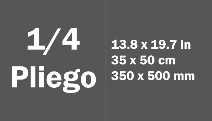 1/4 pliego Paper Size Dimensions