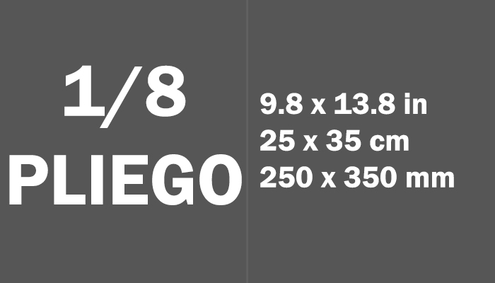 1/8 pliego Paper Size Dimensions