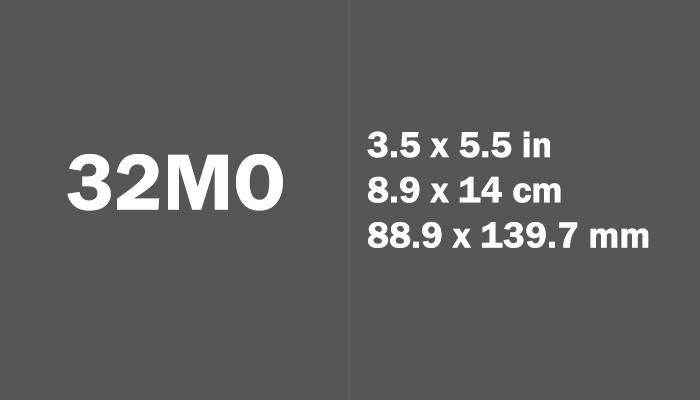 32mo Paper Size Dimensions