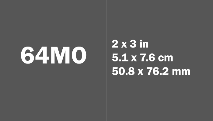 64mo Paper Size Dimensions