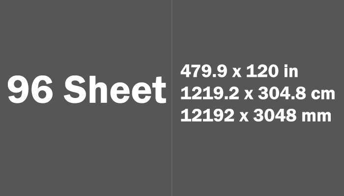 96 Sheet Paper Size Dimensions