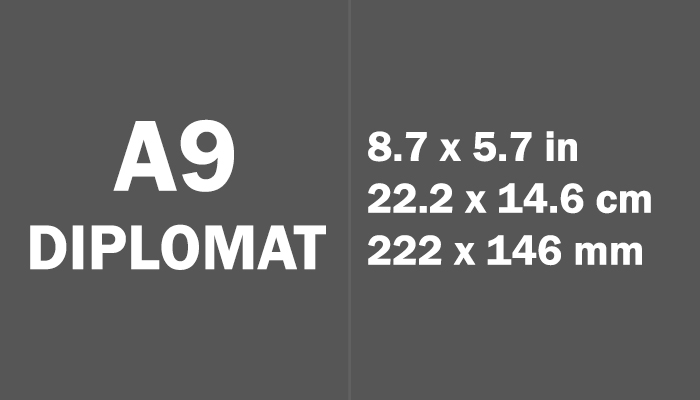 A9 Diplomat Paper Size in cm mm