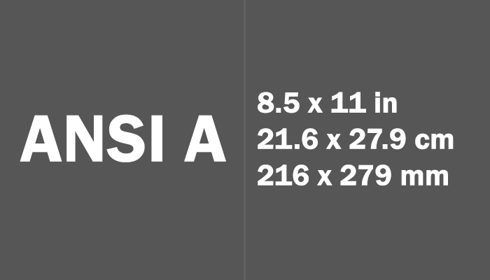 ANSI A Paper Size Dimensions