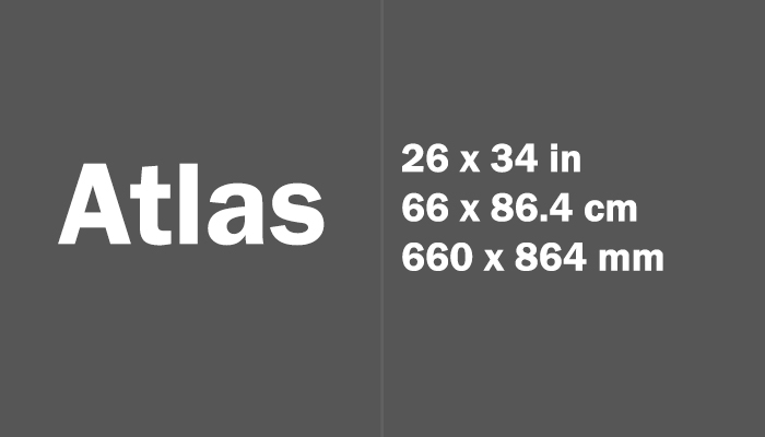 Atlas Paper Size in cm mm