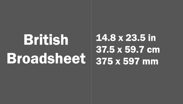 British Broadsheet Paper Size Dimensions