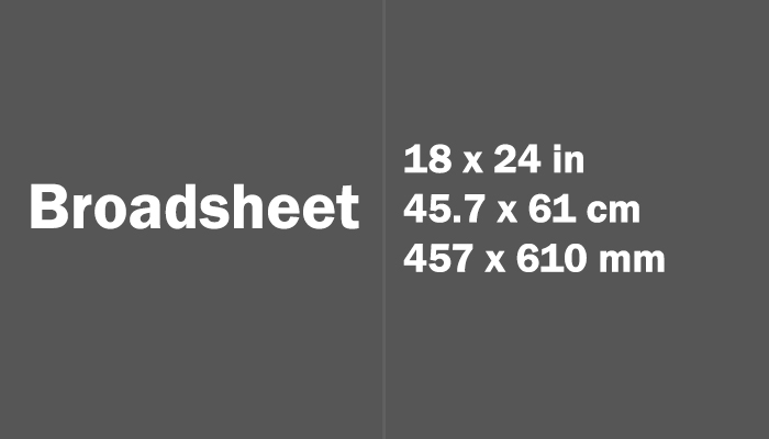 Broadsheet Paper Size Dimensions