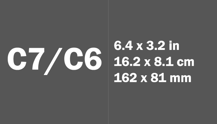 C7/C6 Paper Size in cm mm
