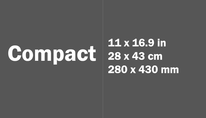 Compact Paper Size in cm mm