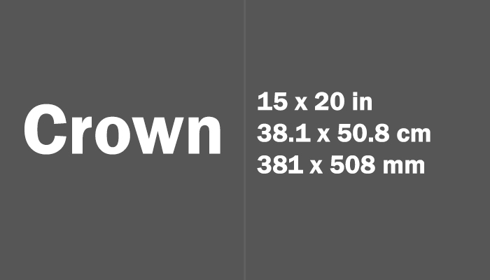 Crown Paper Size in cm mm