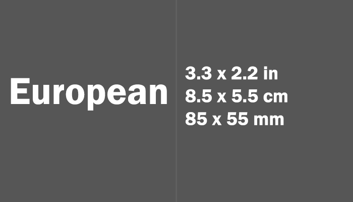 European Paper Size in cm mm