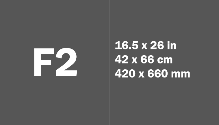F2 Paper Size in cm mm