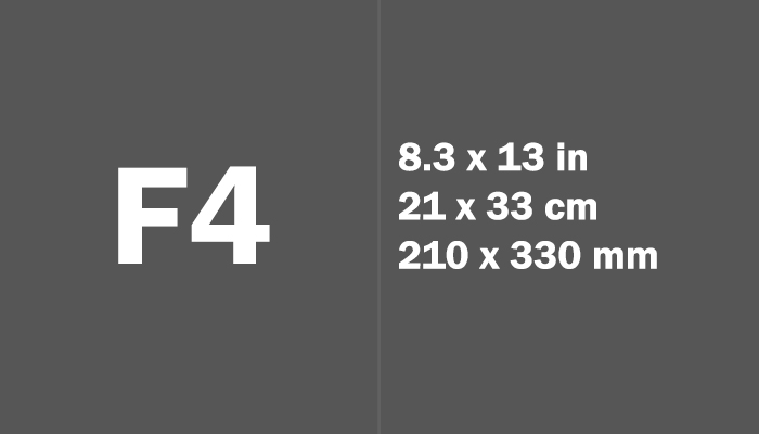 F4 Paper Size in cm mm