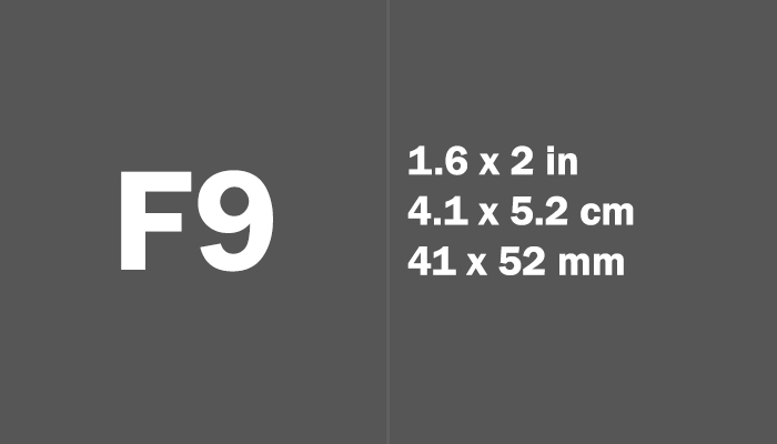 F9 Paper Size Dimensions