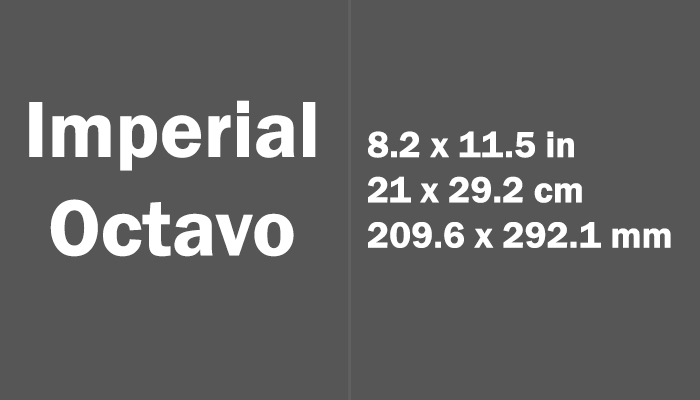 Imperial Octavo Paper Size in cm mm