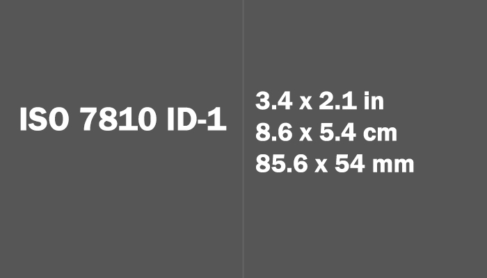 ISO 7810 ID-1 Paper Size Dimensions