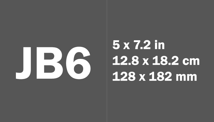 JB6 Paper Size Dimensions