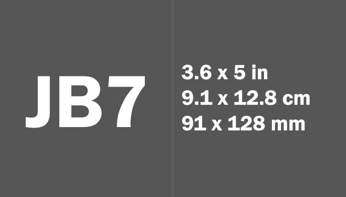 JB7 Paper Size in cm mm