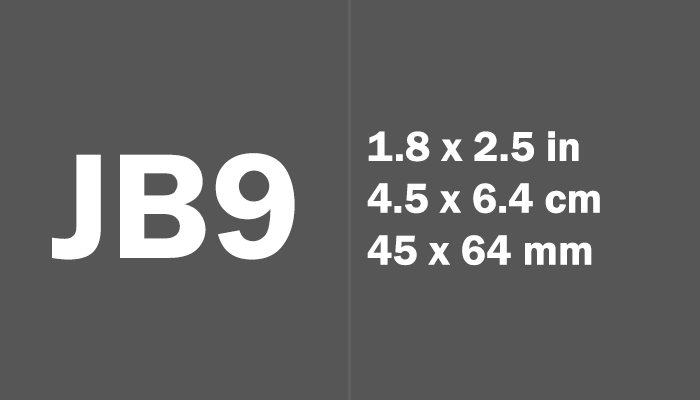 JB9 Paper Size in cm mm