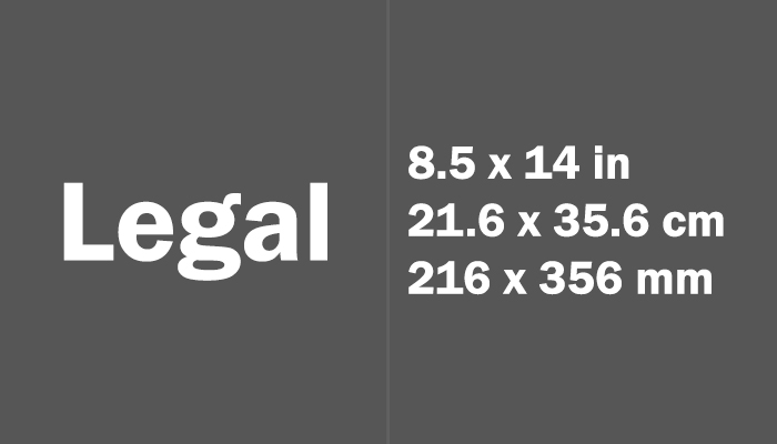 Legal Paper Size in cm mm