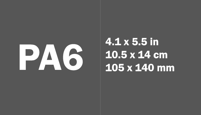 PA6 Paper Size in cm mm
