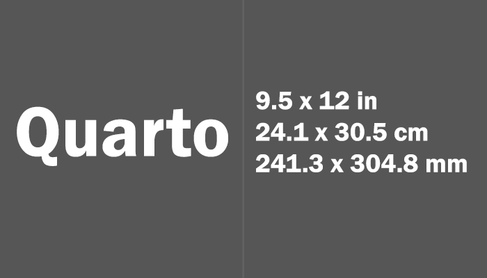 Quarto Paper Size in cm mm