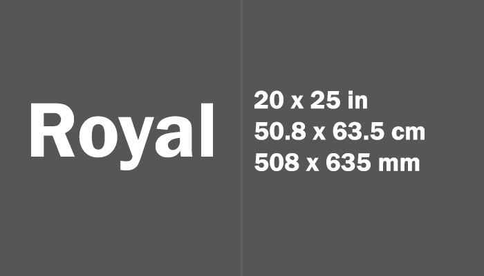 Royal Paper Size in cm mm
