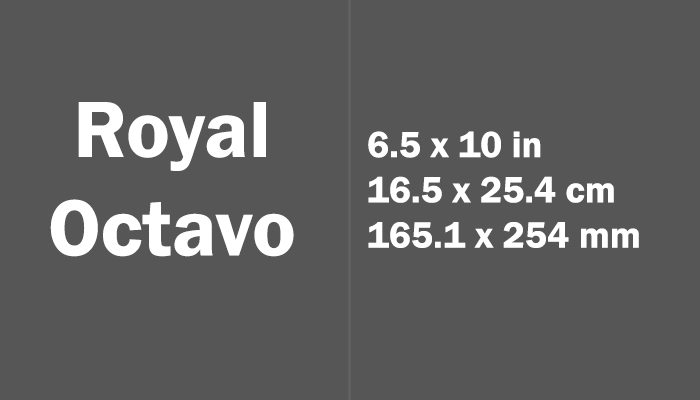 Royal Octavo Paper Size in cm mm
