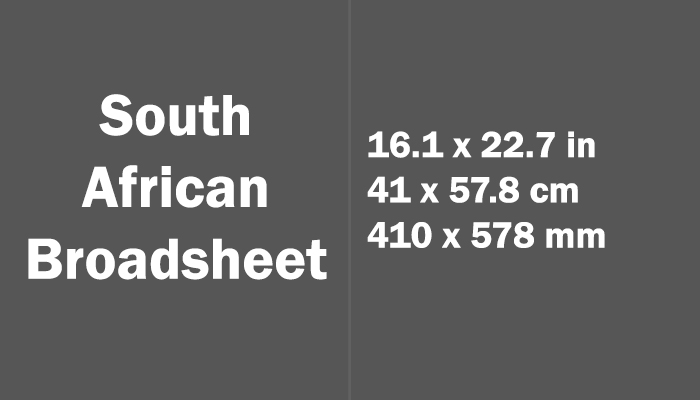 South African Broadsheet Paper Size in cm mm