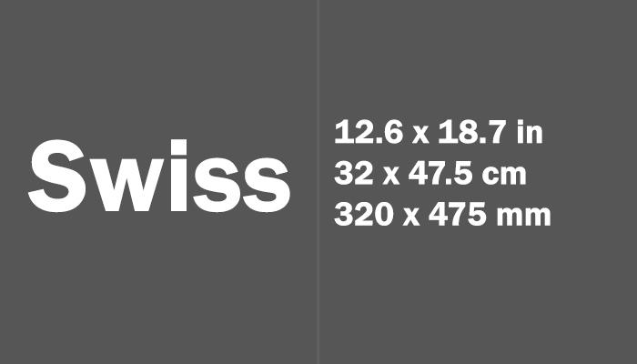 Swiss Paper Size in cm mm